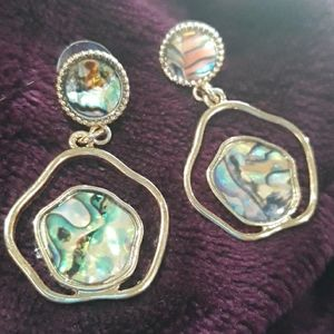 ⛈Gorgeous Genuine Abalone faux gold ear…